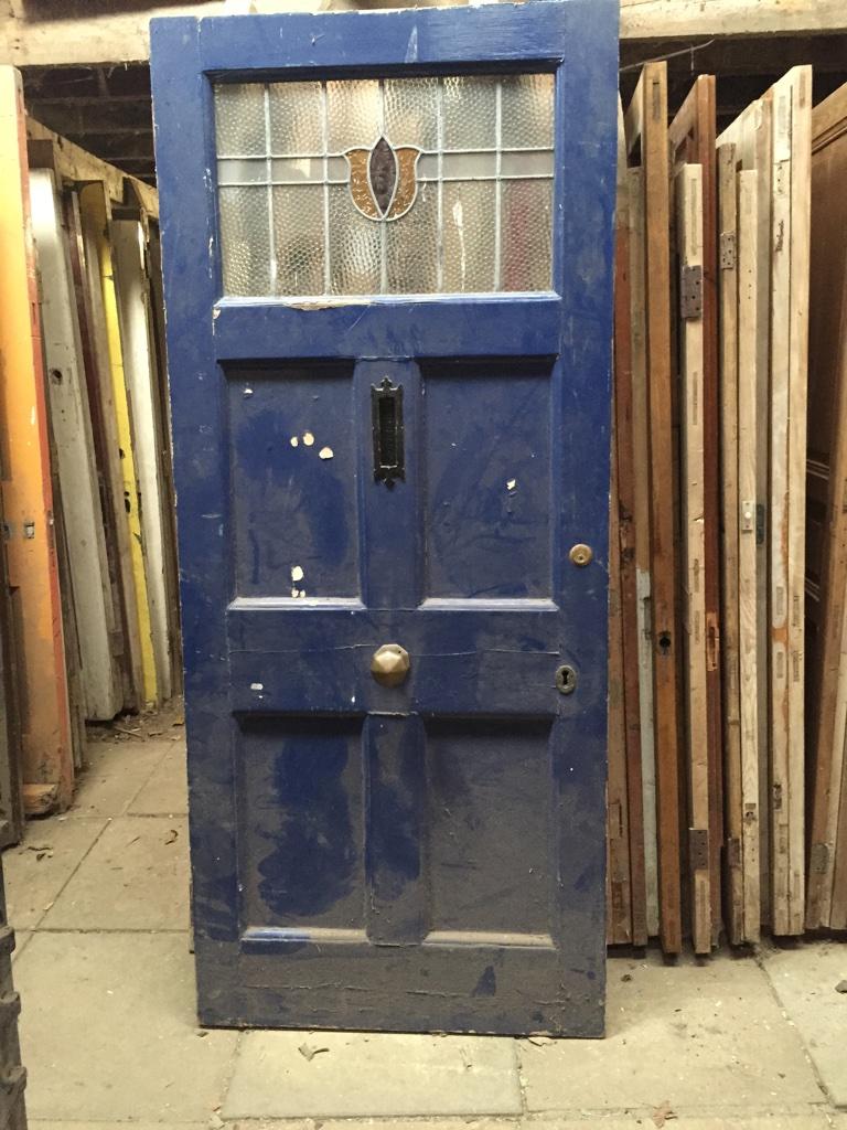 Heavy External 5 Panel Pine Door (With Leaded Glass)