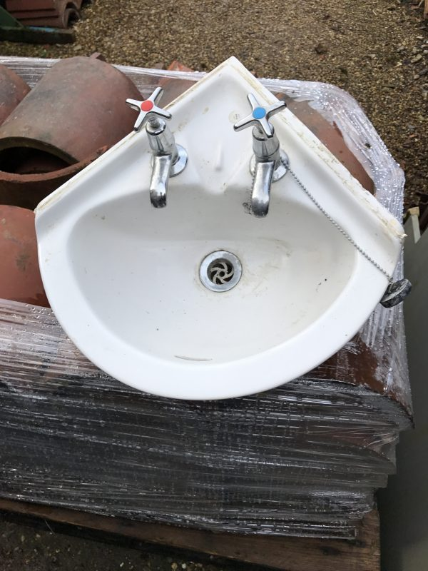 Small Corner White China Sink
