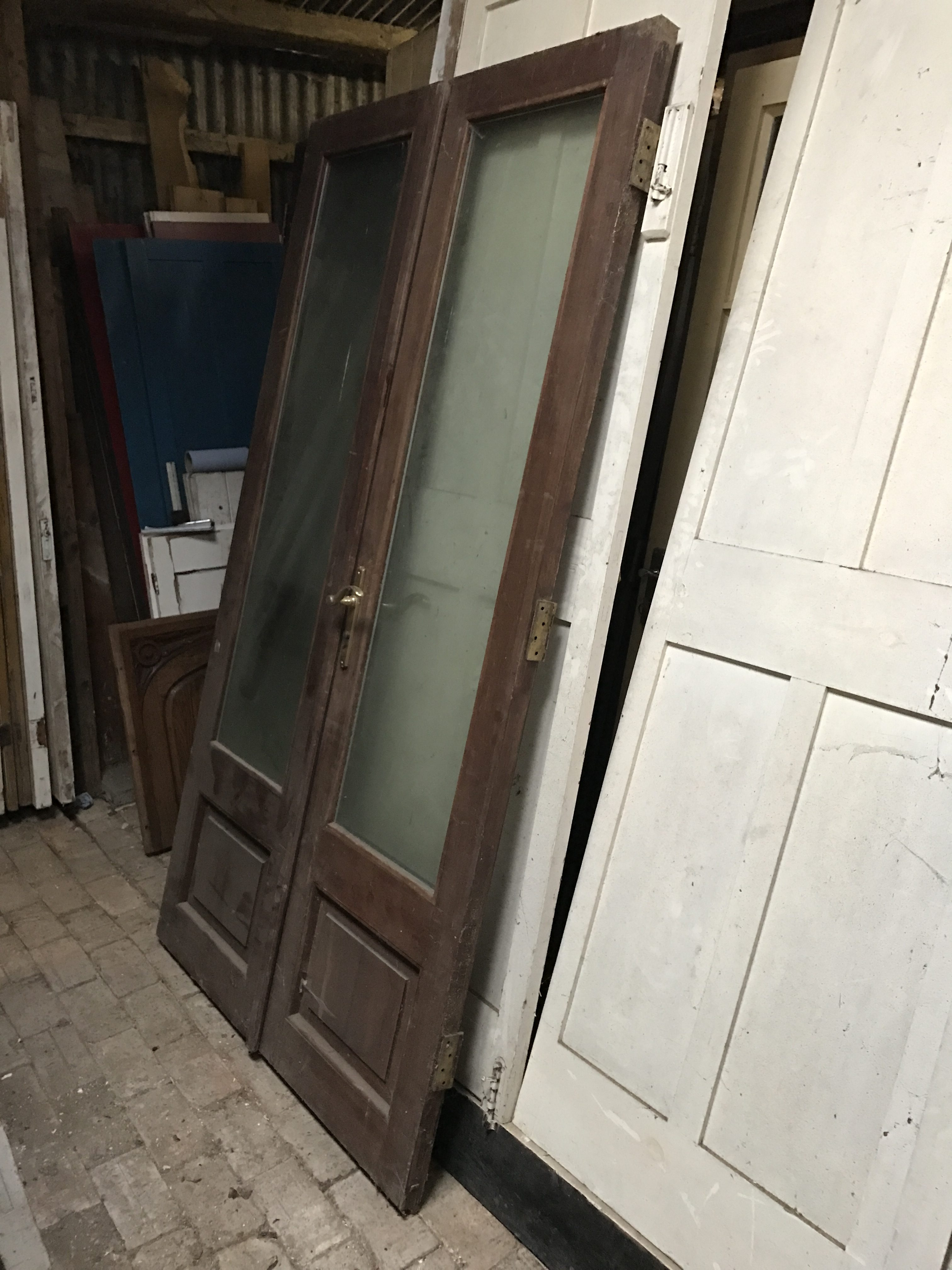 Pair of hardwood 3/4 glazed doors